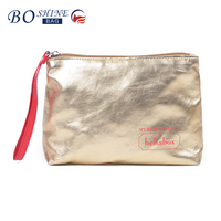 Ladies Trendy Golden Portable Makeup Case Empty Cosmetic Bag With Handle For Promotional Gift