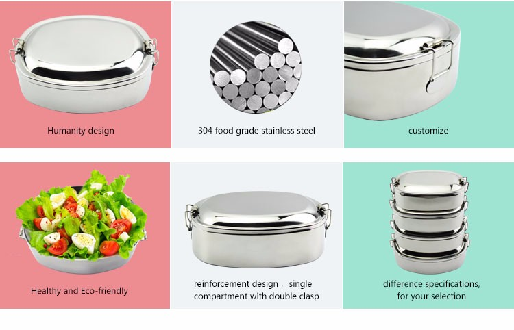 6 7 x 5 x fda approved stainless steel bento lunch. Black Bedroom Furniture Sets. Home Design Ideas