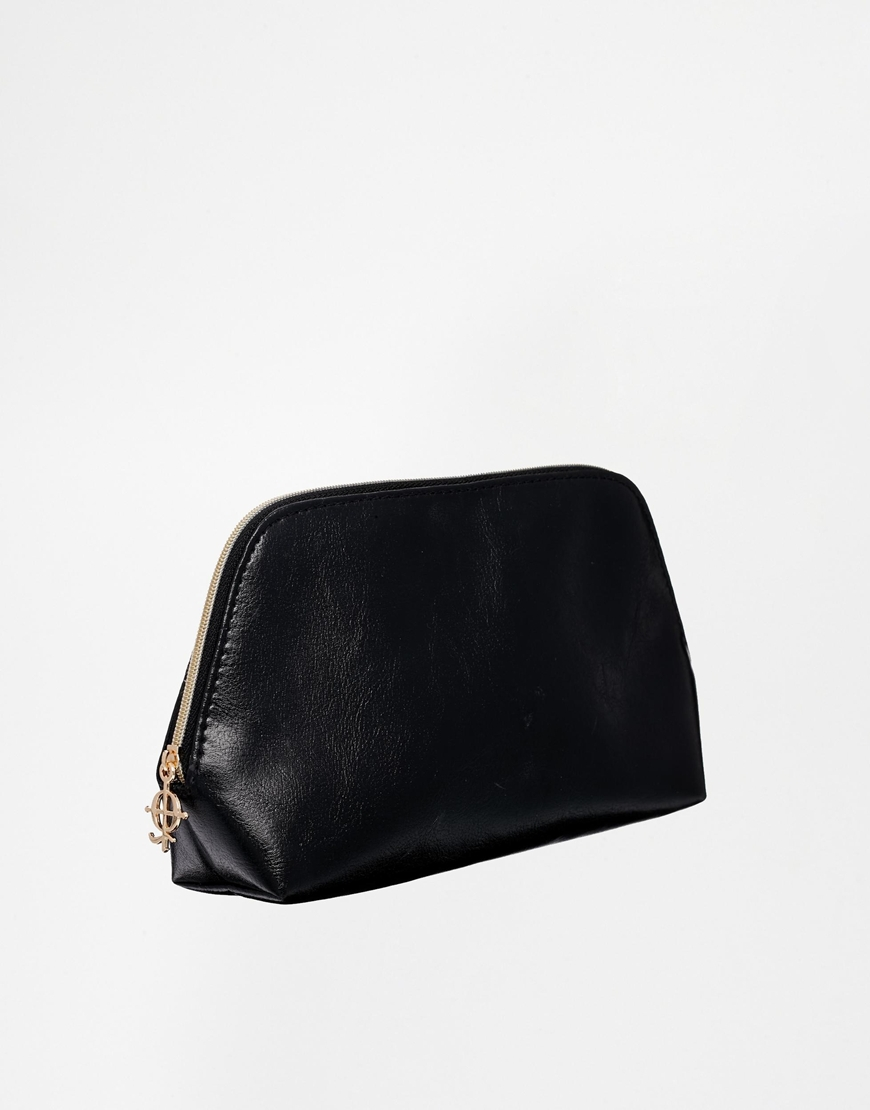 Plain Black Wash Pu Lady Bags for Cosmetic