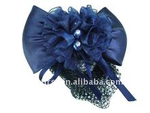 Blue Pearl Satin Hair Bow Hair Snood