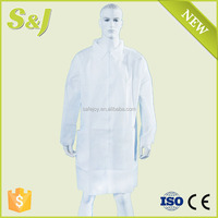 Breathable PP Disposable Lab Coat Uniform with Collar