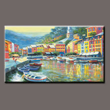 canvas oil painting boats in the river water town landscape