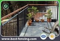 Balcony Wrought Iron Deck Railing with wooden armrest
