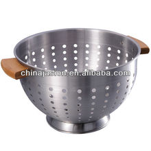 SS enamelware Colander products Salad bowl with wood ear handle