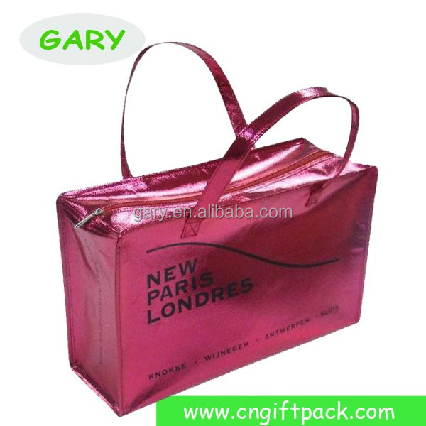 Non Woven Bag with Zipper Tote Bag Metallic Shopping Tote 2016