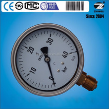 High quality stainless steel case brass internal100mm pressure gauge meter with bayonet bezel