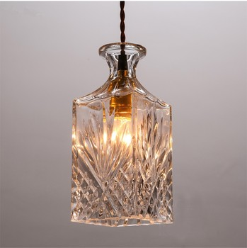 Victorian Hanging Lamps Mini Pendant Lights Indoor Amber Glass Chandelier