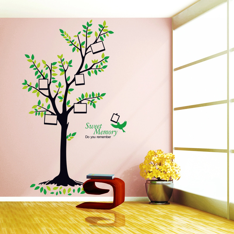 2017 New <strong>Design</strong> Family Tree Photo Frame Wall Stickers Birds Sweet Memory Decals