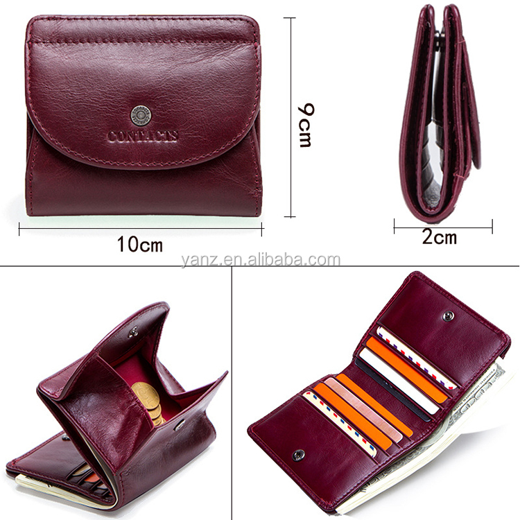 Genuine Leather Mini Wallet with Zipper Coin Purse Card Holder Women