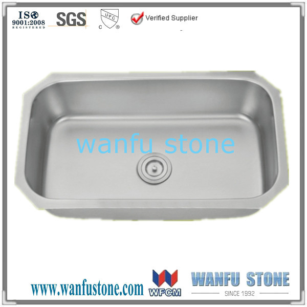 Undermount Single Bowl 18 gauge Stainless Steel Kitchen Sink / Polished Surface Treatment Stainless Steel Kitchen wash basin