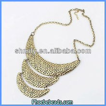 2013 New Design Fashion Chunky Chain Necklace Wholesale Layered Crescent Metal Alloy Choker Costume Jewelry For Women PBN-030