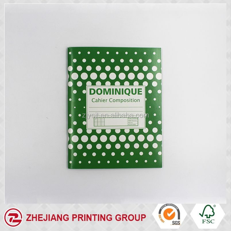 DIY B5 green cover with white dots pattern saddle stitch exercise book