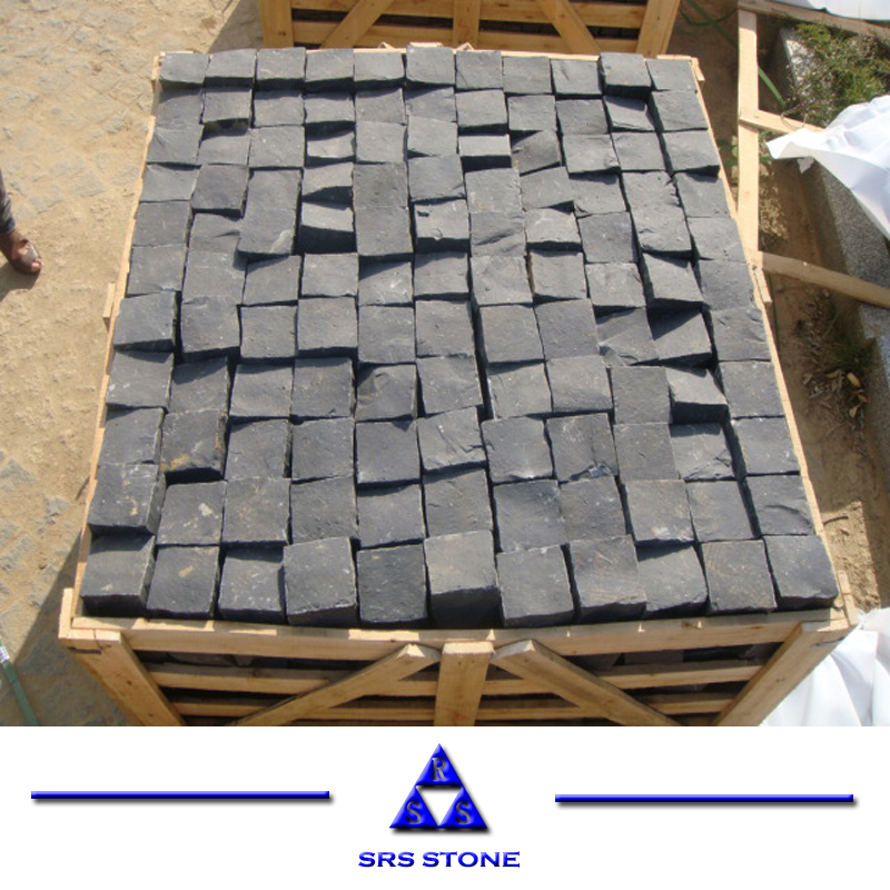 <strong>Black</strong> Basalt <strong>Black</strong> rough cobble stone paving 10 <strong>x10</strong> x4cm
