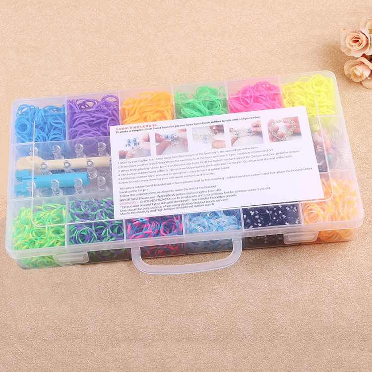 18 divided pvc box 1500pcs Loom Rubber Bands wholesale fashion silicone bracelets band