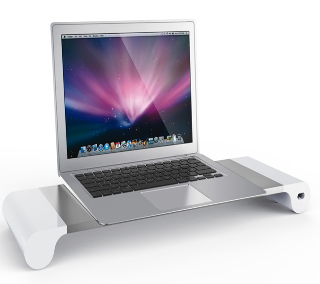Aluminum laptop monitor riser stand with 4 ports usb charger 4.8A