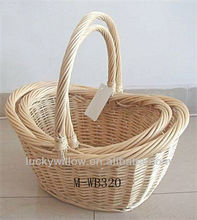 2 piece set cheap natural wicker basket with handle