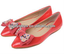 2013 Pretty Steps lady summer PU paprika flat casual dress shoes