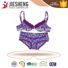 printing lace with cotton bra and boyshort for women wear Wholesale lingerie manufacturer(Accept OEM)