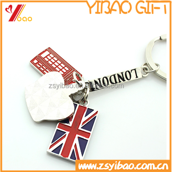 2016 customized country flag metal keychain and Irregular shape key chain