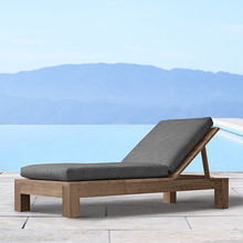 Swimming pool outdoor teak solid wood lazy lounger chair