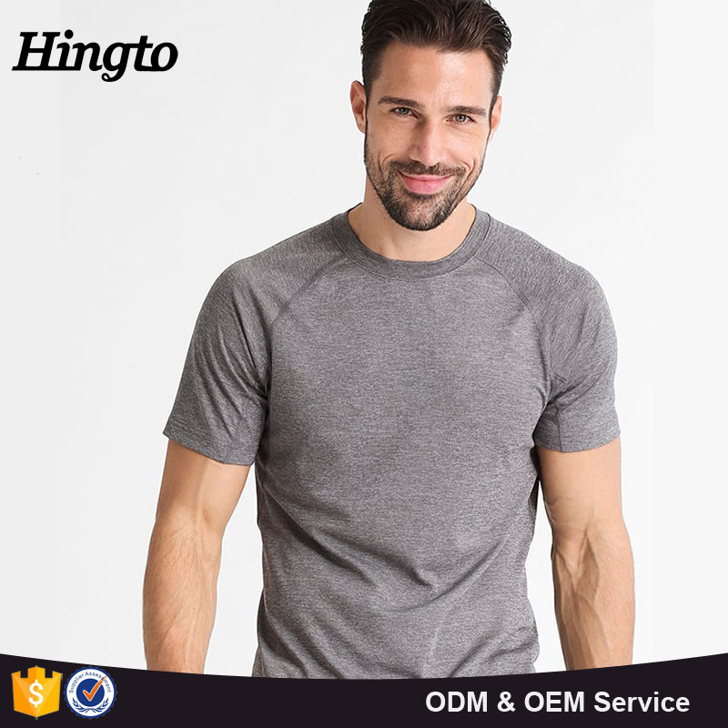 Men sports slim fit polyester spandex cotton t shirts blank design made in china