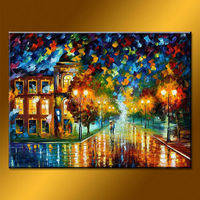Wholesale Handmade Knife Street Picture Wall Art, Colorful Painting For Sale