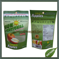 Matt finished printed stand up dried fruit pouch bags,ziplock dried apple packaging plastic bags
