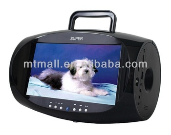 "portable DVD boombox player with 7.5"" TV function, Game and FM"
