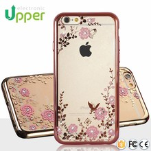 Made in China popular diamond cheap price luxury aluminum frame back TPU cover mobile phone case for iphone 6 6s 6plus 5c 5s 5