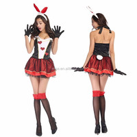 Bunny Costume Sexy Woman Roleplay Red Heart Alice in Wonderland Cosplay Costume Halloween Costumes for Women