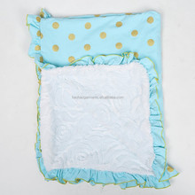 summer gold polka dots printed bright light blue baby bedding blankets for sleeping