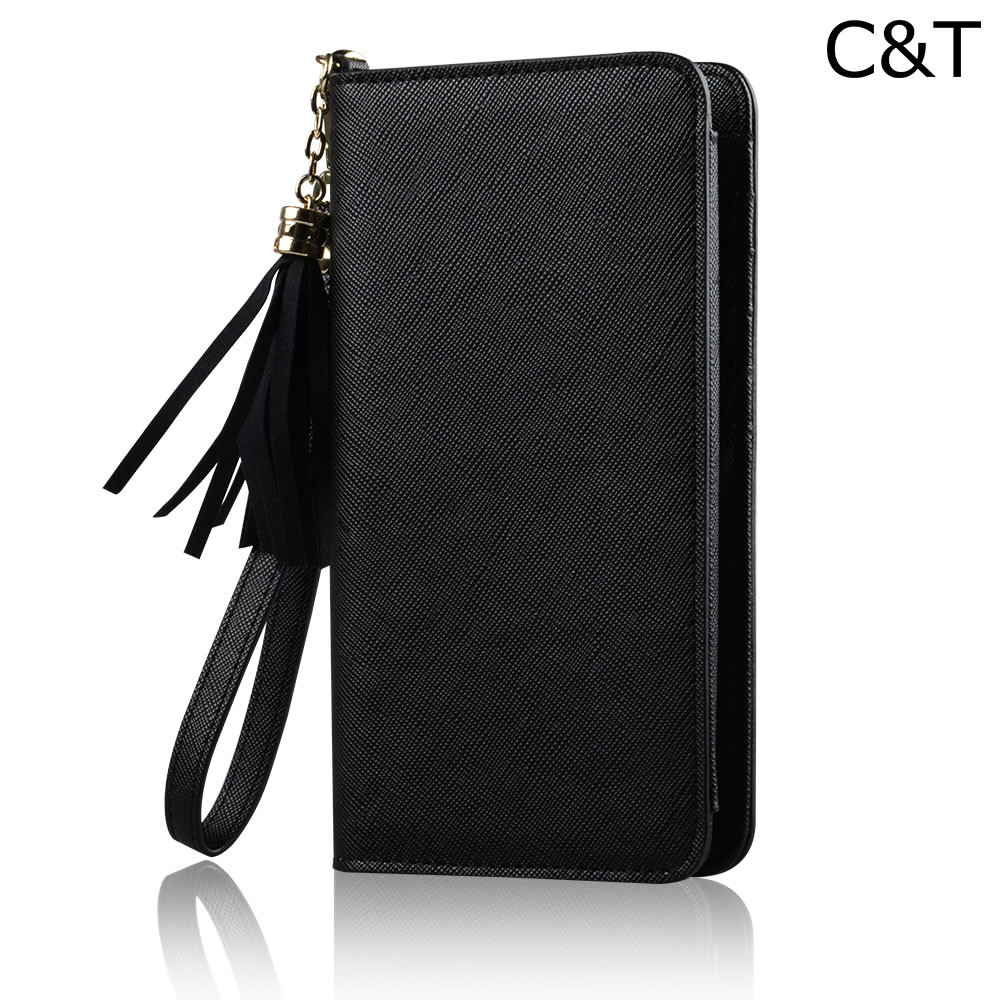 C&T Women's Phone Wallet Magnetic Genuine Leather Case for iPhone 6S Plus
