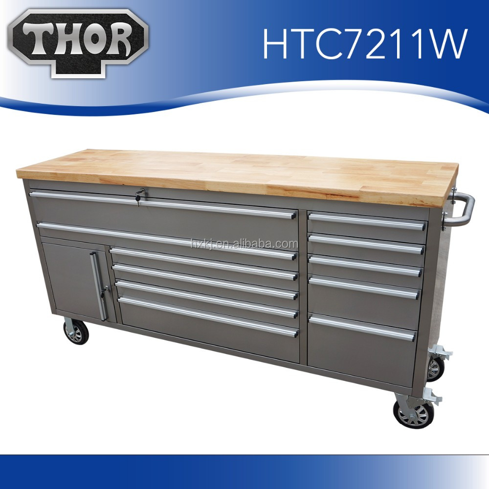 72 inch Tool Box Roller Cabinet With Wooden Top 11 drawer