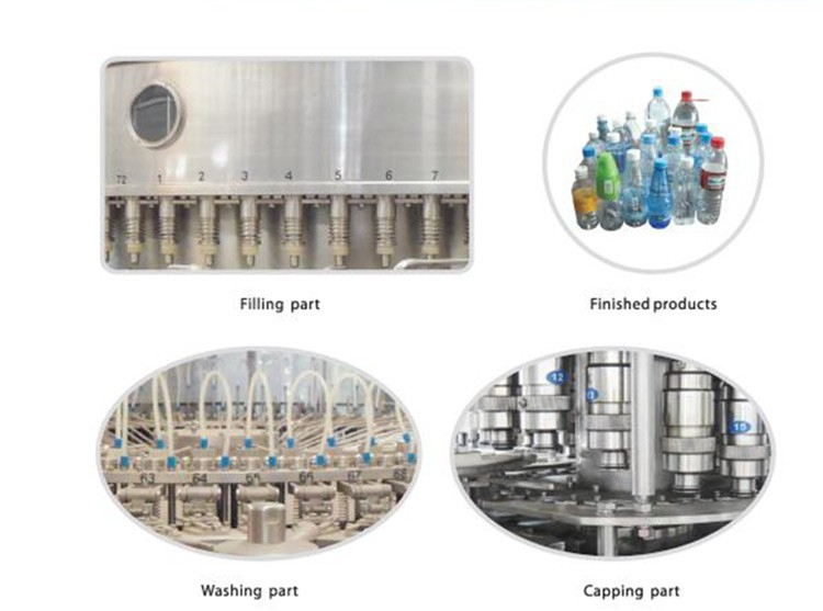 High efficiency non-carbonated washing filling capping machine with power 4.0KW