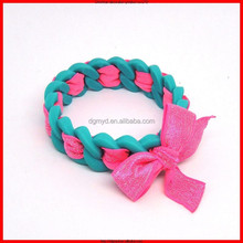 Creative Particular looking silicone bracelet,silicone wristband with ribbon
