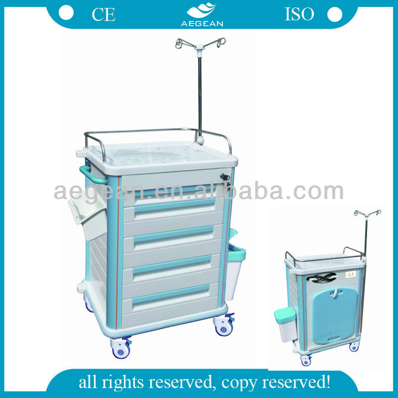AG-ET012B1 With IV pole hospital plastic decent abs trolley case