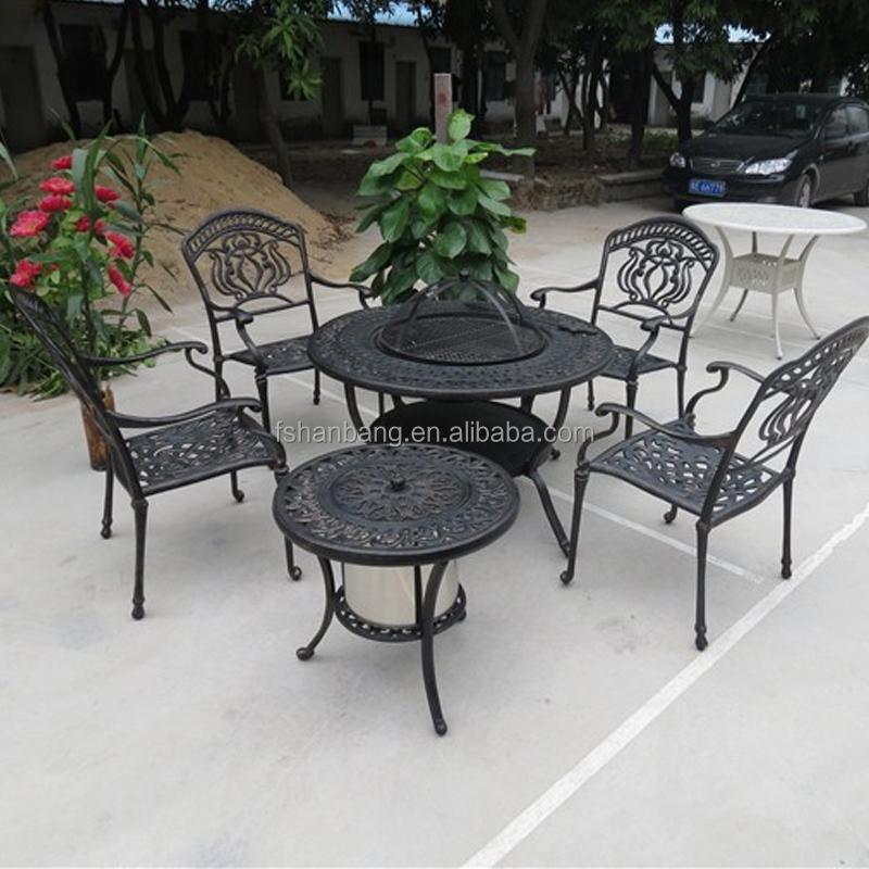 Holzkohle Holzofen Runde Aluminium Metall Terrasse Garten Haus Hof 4 Sitz  Grill Tisch Stuhl Set