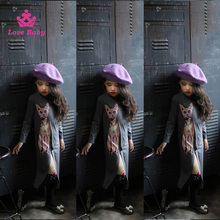 Latest Animal Cat Purple Cotton Girl Dress Teenager Casual Spring Wear
