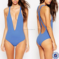 custom swimwear one piece swimsuit with back plunge