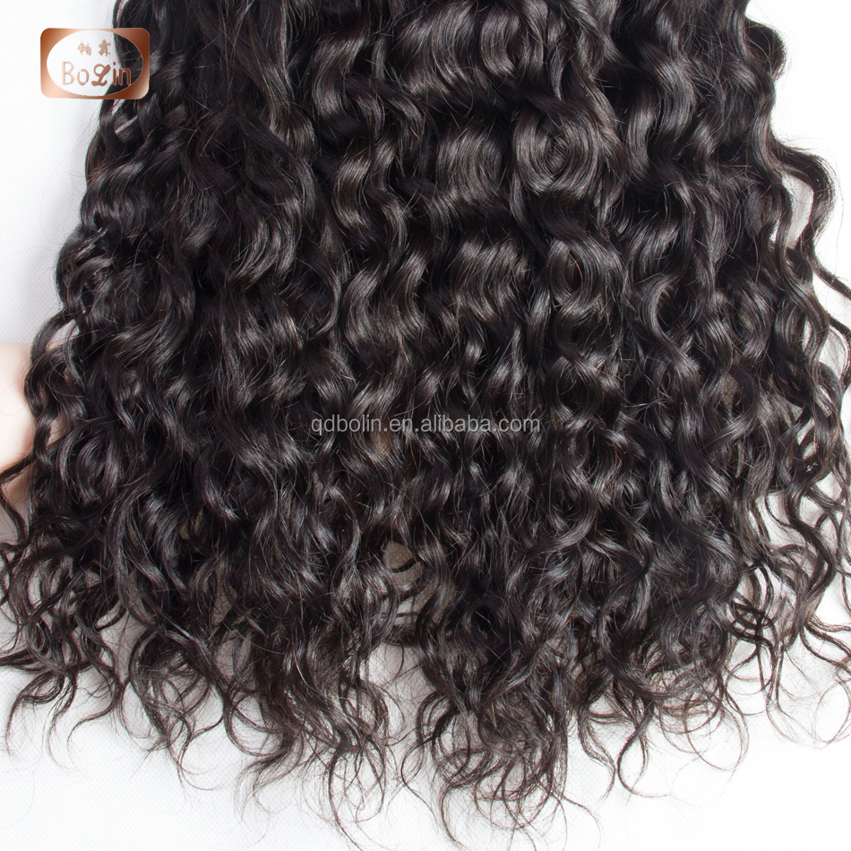 Water Wave 3 Bundles With Closure Human Hair Bundles with Closure Middle Part Human Hair Non Remy Weave