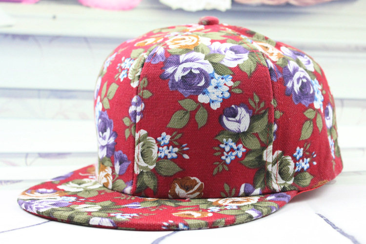 Woman/girls cotton floral print outdoor baseball cap hats
