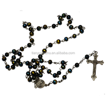 wooden small rosary beads cross necklace