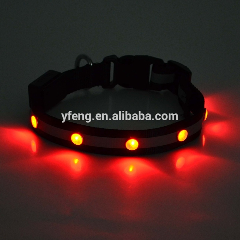 New Safety Pet Products LED Dog Collar Nylon Light-up Flashing Glow LED Collars For Dogs S M L XL Neck Strap