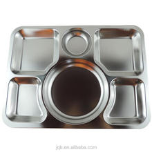 Stainless Steel Rectangular 6 Compartment Mess Tray