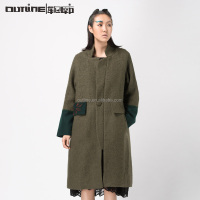 Lunkuo Original Design Long Sleeve Patchwork Mandarin Collar Single Button Elegant Winter Long Wool Coat Plus Size