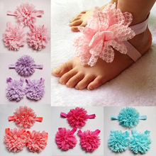 Wholesale Baby Girl Lace Head& Wrist & Foot Accessories Set Baby Big Lace Shabby Flowers Decoration Set