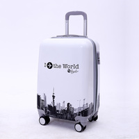 New hard strong polo world luggage world map 2017 suitcase