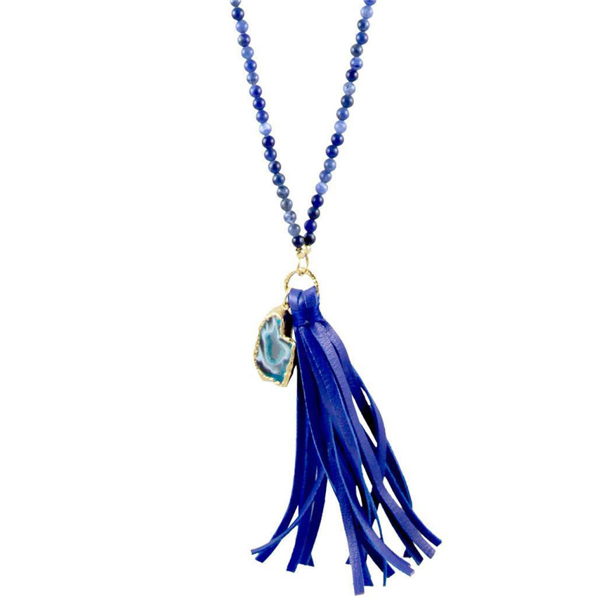 2016 charming apparel jewelry long mix color glass beaded necklace with tassel