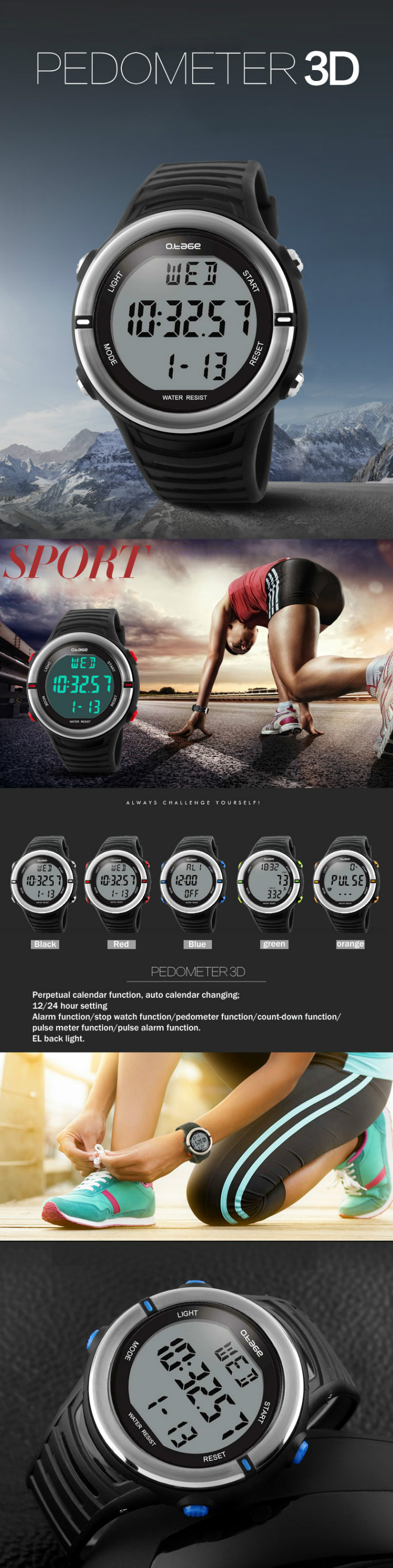 made in china sports watch with heart rate monitor digital watche waterproof