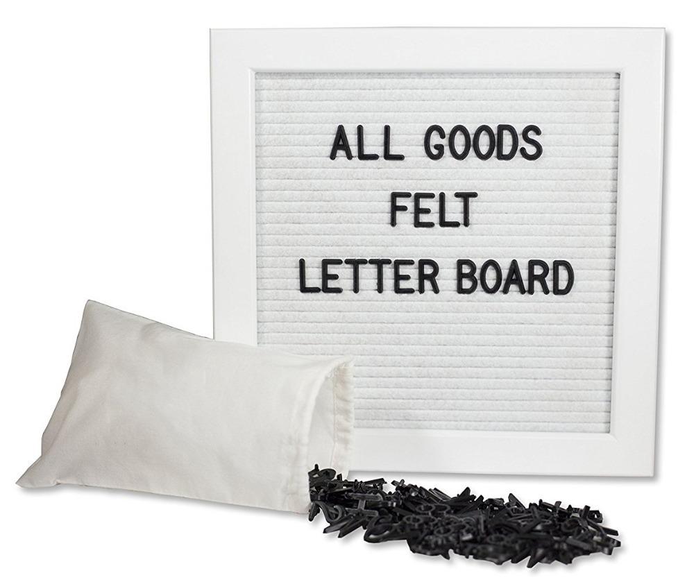 Felt Letter Board 10x10 Inch White Frame & White Felt 290 Changeable ...